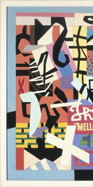 "Stuart Davis (1892–1964), ""The Mellow Pad,"" 1945–51.  Oil on canvas, 26 1/4 x 42 1/8 in.  (66.7 x 107 cm).  Brooklyn Museum; bequest of Edith and Milton Lowenthal 1992.11.6.  © Estate of Stuart Davis/Licensed by VAGA, New York"