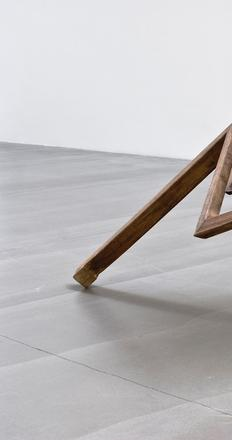 Table with Two Legs, 2008, by Ai Weiwei (Chinese, b.  1957).  Wood from qing dynasty (1644–1911).  Courtesy of Rubell Family Collection, Miami.  © Ai Weiwei