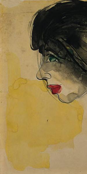 Head in Profile, 1919, Emil Nolde (German, 1867-1956), Watercolor and India ink on tan wove paper, 14-1/2 x 11-1/8 in.  (36.8 x 28.3 cm), Norton Simon Museum, The Blue Four Galka Scheyer Collection, © Nolde Stiftung Seebüll, Germany