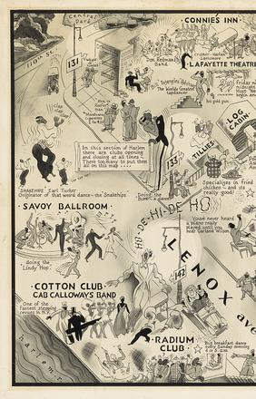 Lot 415 E.  Simms Campbell, A Night-Club Map of Harlem, original illustration for the well-known centerfold in Esquire, New York, 1932.  Estimate $40,000 to $60,000.