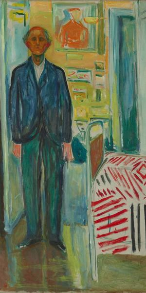 Edvard Munch, Self-Portrait.  Between the Clock and the Bed, 1940-43; oil on canvas; 58 7/8 x 47 7/16 in.  (149.5 x 120.5 cm); photo: courtesy Munch Museum