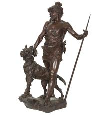 Primitive bronze statue signed by Marcel Debut (Fr., 1865-1933), of a hunter with a spear in one hand and his terrier dog on a leash in the other, 31 inches tall (Est.  $5,000-$7,500).