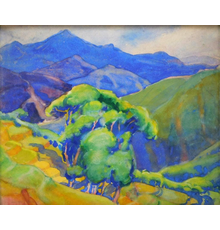 Impressionist watercolor landscape painting on paper by Margaret Jordan Patterson (Mass., 1867-1950), titled Hills with Chestnut Trees, artist signed (est.  $800-$1,200).