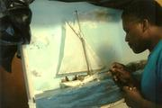 Maritime artist Rex Stewart working on a contemporary shadowbox titled - Midday Endeavor