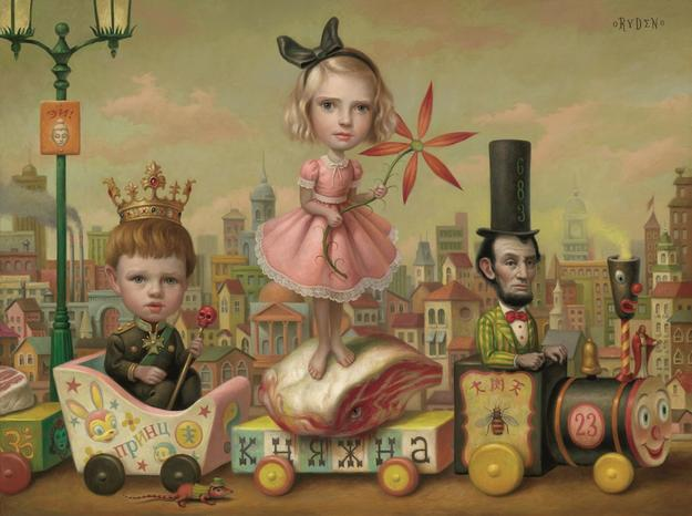 Mark Ryden,The Meat Train (No.  23), 2000.  Oil on canvas, 17 x 23 in.  Private Collection.  © Mark Ryden.