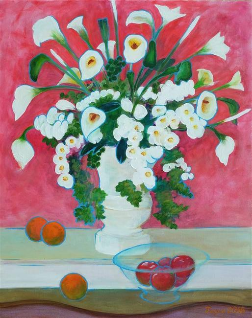 "Martin Randall Joyce, Artificial Flowers with Fruit, Acrylic on Canvas, 30"" x 24"""