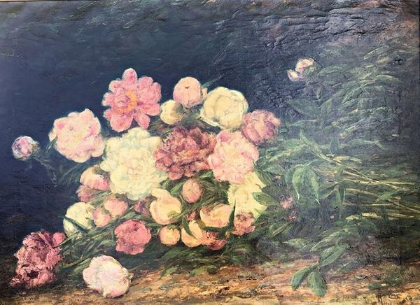 Oil on canvas floral painting from 1915 by Mary B.  Leisz (Am., b.  1876, death year unknown), important because Leisz only painted still lifes very early in her career.