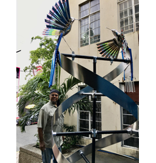 Mating Dance of Humming Birds Stainless Steel, Lucite, Aluminum, Solar LED lights, Concrete 12x4x4'
