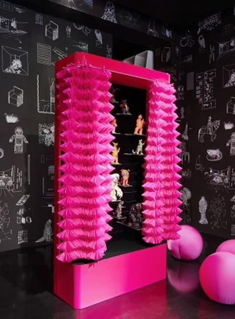 "Maurizio Galante and Tal Lancman COLLECTOR'S CABINET Italy, 2012 Pink lacquer, blackboard and MDF structure, velvet lined interior, with adjustable glass shelves of varying sizes, and curtains made of technical fabric Height: 89"" - Width: 47.25"" -Depth: 17.75"""