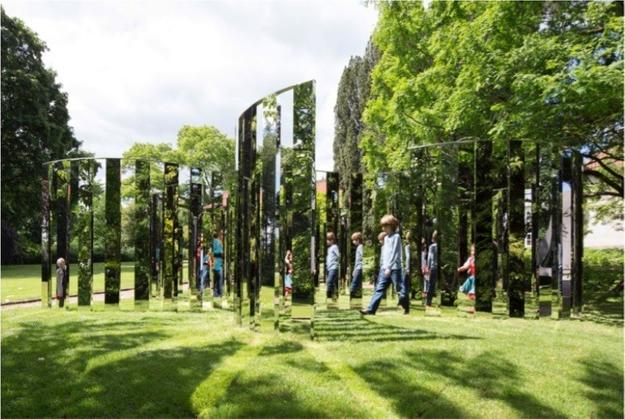 Jeppe Hein, Semicircular Mirror Labyrinth NY, 2015.  High polished stainless steel and aluminum.  106 1/4 x 346 1/2 x 338 1/2 inches (270 x 880 x 860 cm).  © Jeppe Hein, courtesy 303 Gallery, New York, KÖNIG GALERIE, Berlin, and Galleri Nicolai Wallner, Copenhagen