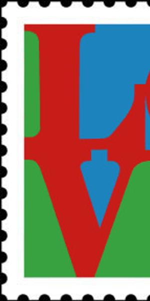 United States Postal Service 8c LOVE Stamp issued in 1973, designed by Robert Indiana.