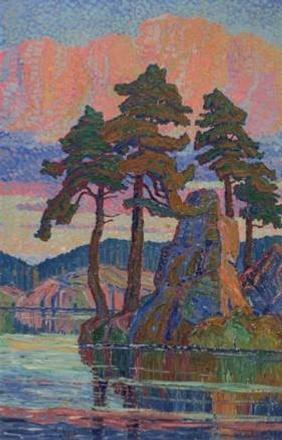 Lake at Sunset, Colorado, 1921, a tour de force by Western Artist Birger Sandzén achieves $670,000.