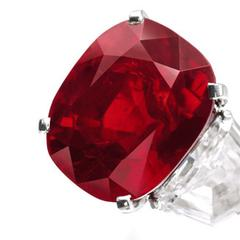 A cushion-shaped Burmese ruby of 25.59 carats, which sold to an anonymous buyer for $30,335,698, or $1,185,451 per carat.