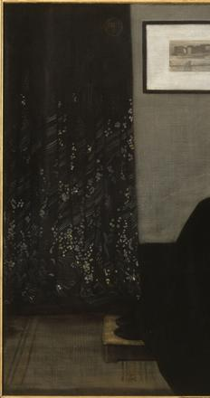 James McNeill Whistler (American, active in England and France, 1834–1903), Arrangement in Grey and Black, No.  1 (Portrait of the Artist's Mother), 1871.  Oil on canvas, 56 4/5 x 64 in.  (144.3 x 162.5 cm).  Musée d'Orsay, Paris © RMN-Grand Palais / Art Resource, NY (photo: Jean-Gilles Berizzi)