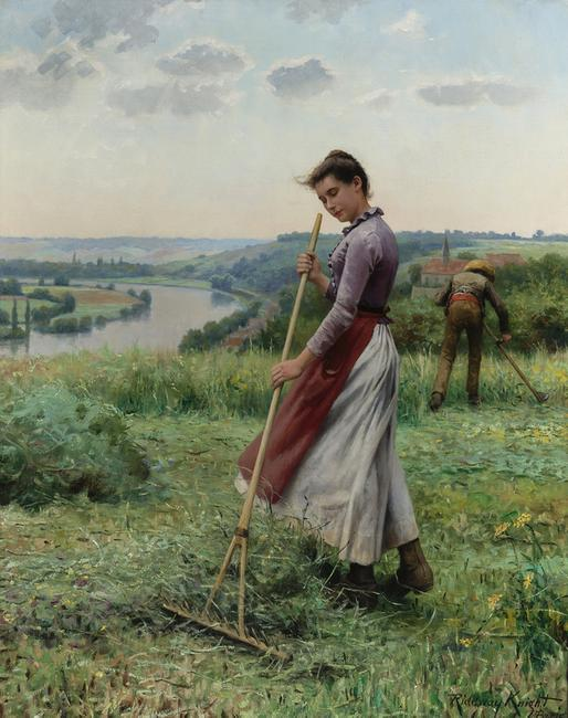 In The Fields by Daniel Ridgway Knight, American, 1839-1924.  Courtesy of M.S.  Rau Antiques.