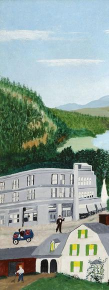 "Anna Mary Robertson (""Grandma"") Moses (1860- 1961), Bennington, 1945.  Oil on pressed wood, 17 3/4 x 26 in.  Copyright © 2016 Grandma Moses Properties Co, New York.  Bennington Museum.  1986.310."