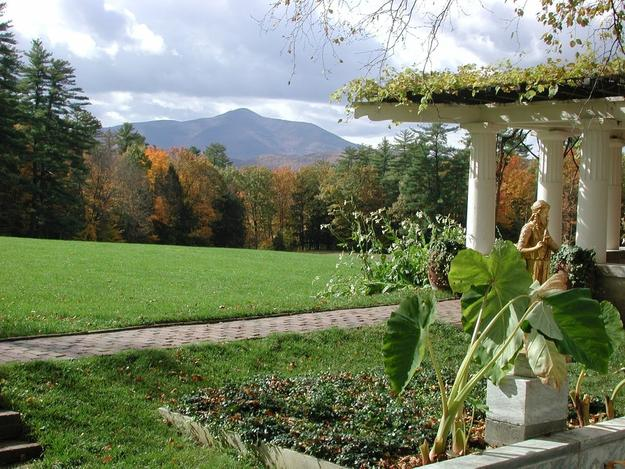 Pan Garden looking towards Mt.  Ascutney on the grounds of the Saint-Gaudens National Historic Site.