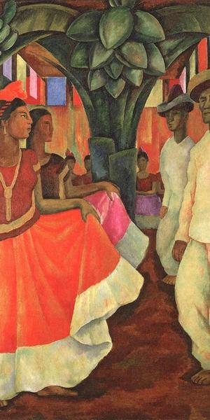 Diego Rivera, Dance in Tehuantepec, 1928, oil on canvas, collection of Eduardo F.  Costantini, Buenos Aires.  © Banco de México Diego Rivera Frida Kahlo Museums Trust, Mexico D.F.  / Artists Rights Society (ARS), New York