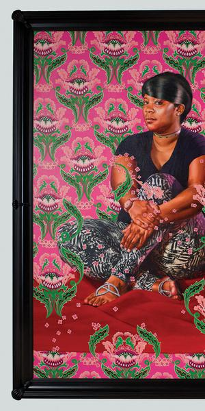 Kehinde Wiley (American, b.  1977), Three Girls in a Wood, 2018, oil on linen, 108 x 144 in., 2018.11, Museum purchase, gift of The Sherwood Foundation.  Courtesy of the artist and Roberts Projects, Los Angeles, California; Photo by Jean-Paul Torno, Courtesy Saint Louis Art Museum