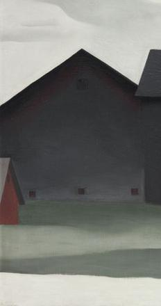 The Barns, Lake George, 1926, by Georgia O'Keeffe.  Oil on canvas 21 x 32 ¼ in.  (53.3 x 81.9 cm.) Georgia O'Keeffe Museum © 2016 Christie's Images Limited