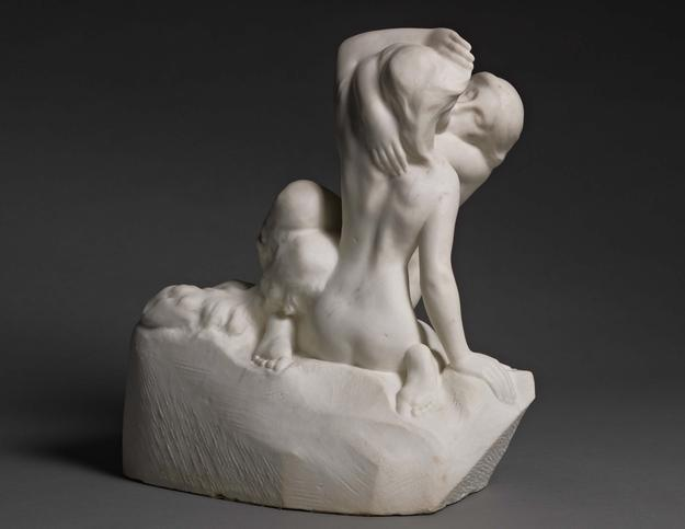 Auguste Rodin, Bacchantes Entwined.  Marble.  Signed and dedicated A P Escudier / Rodin; Conceived before 1896, carved between 1900 and 1910.  Height: 39.8 cm, Width: 37.4 cm, Depth: 27.6 cm