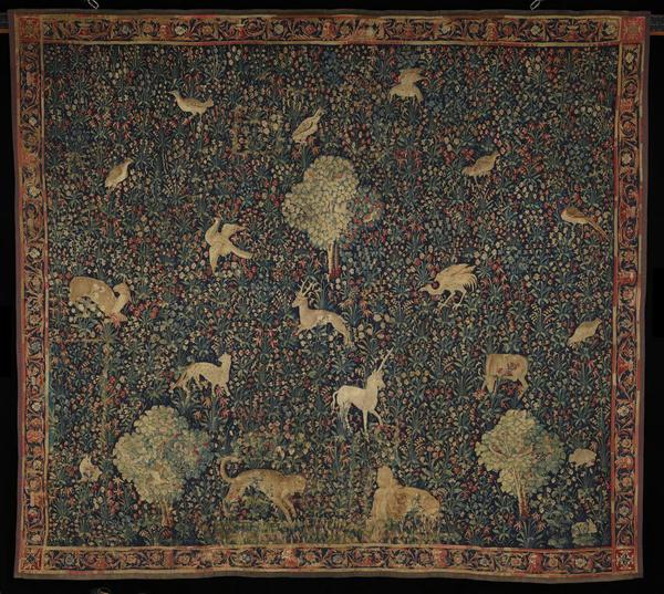 In the 'Book of Beasts' exhibition at the Getty Center (through Aug.  18, 2019): Tapestry with Flowers and Animals, Belgian, about 1530–1545, artist unknown, wool and silk.