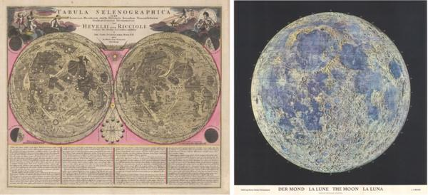 "Hans Schwarzenbach / Hallwag: ""Der Mond, La Lune, The Moon, La Luna"".  Published 1969 and Jean Baptist Homann: ""Tabula Selenographica"".  Published 1710"