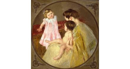 Mary Stevenson Cassatt (1844–1926), Mother and Two Children, c.  1905, Oil on Canvas, Anonymous Gift, 1979.1