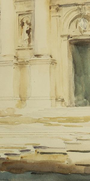 John Singer Sargent (American, 1856–1925) The Portal of S.  Giorgio Maggiore, Venice, ca.  1903.  Watercolor over pencil on paper, 9 1/2 x 13 3/4 inches