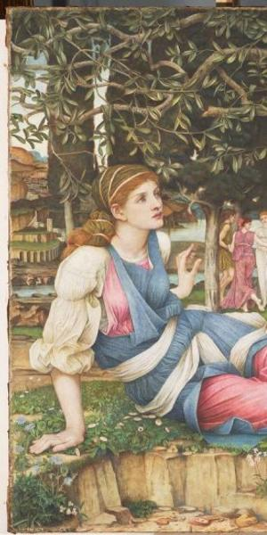 """John Roddam Spencer Stanhope, """"Love and the Maiden,"""" 1877.  Oil, old paint and gold leaf on canvas, 54 x 79 in.  (137.2 x 200.7 cm).  Fine Arts Museums of San Francisco, Museum purchase, European Art Trust Fund, Grover A.  Magnin Bequest Fund and Dorothy Spreckels Munn Bequest Fund, 2002.176"""