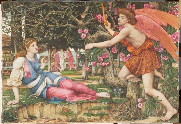 "John Roddam Spencer Stanhope, ""Love and the Maiden,"" 1877.  Oil, old paint and gold leaf on canvas, 54 x 79 in.  (137.2 x 200.7 cm).  Fine Arts Museums of San Francisco, Museum purchase, European Art Trust Fund, Grover A.  Magnin Bequest Fund and Dorothy Spreckels Munn Bequest Fund, 2002.176"