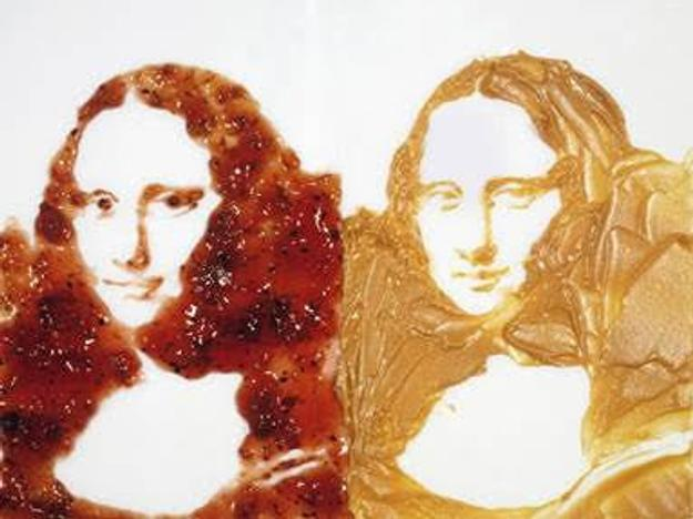 Vik Muniz (Brazilian, b.  1961), Double Mona Lisa (Peanut Butter and Jelly), from the series After Warhol, 1999, Digital C Print, 49.6 x 61.4 x 1.9 inches.  © Vik Muniz / Galerie Xippas, Paris