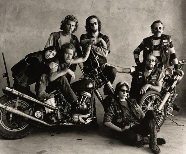 "In the exhibition ""Irving Penn"" at Pace Gallery Palo Alto, Hell's Angels, San Francisco, 1967, by Irving Penn."