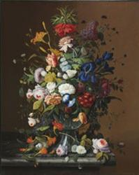 Severin Roesen, Flower Still Life With Bird's Nest 1853, oil on canvas, 40 x 32 in.