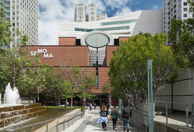 The new SFMOMA, view from Yerba Buena Gardens.