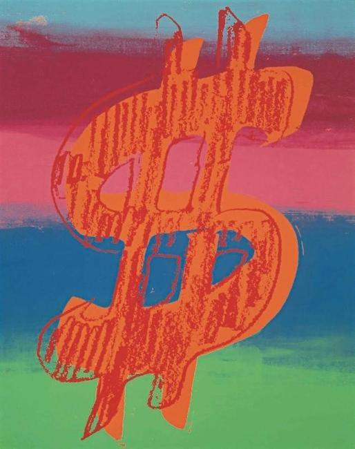 "Andy Warhol, Dollar Sign, Acrylic and silkscreen on canvas, 1981, 20"" x 15"" © Courtesy of Omer Tiroche Gallery"
