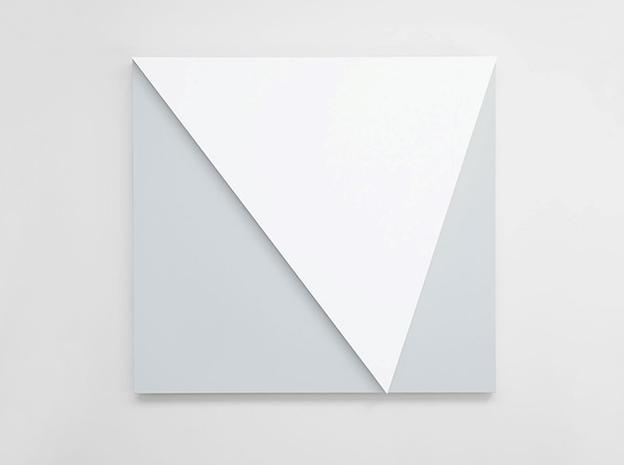 ELLSWORTH KELLY, WHITE RELIEF OVER GRAY, 2013.  OIL ON CANVAS, TWO JOINED PANELS.  60 X 65 INCHES; 152 x 165 CM.