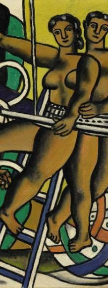 "Sotheby's Impressionist & Modern Art Evening Sale, May 9, 2016, Lot 10: Fernand Léger, ""Composition au cheval blanc,"" 1945.  Oil on canvas 26 by 36 in.; 66 by 91.3 cm.  Estimate: $3.5-5 million"
