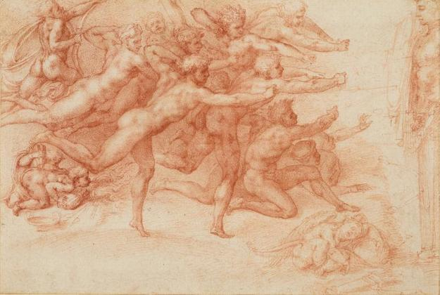 Michelangelo Buonarroti, Italian, Caprese 1475-1564 Rome.  Archers Shooting at a Herm, 1530-33.  Drawing, red chalk.  ROYAL COLLECTION TRUST / © HER MAJESTY QUEEN ELIZABETH II 2017, www.royalcollection.org.uk