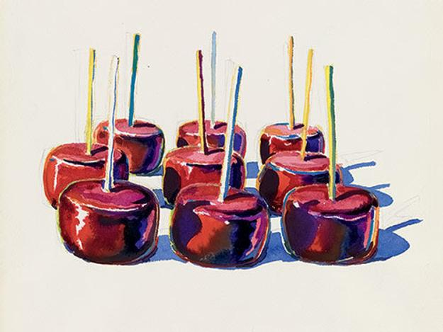Nine Jelly Apples, 1964, watercolor and graphite.  Yale University Art Gallery, Gift of George Hopper Fitch, B.A.  1932.  Photography by Tony De Camillo, © Wayne Thiebaud/Licensed by VAGA, New York, NY
