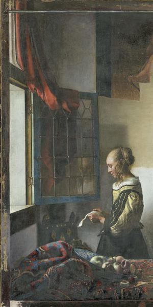 Vermeer, Girl Reading a Letter at an Open Window, 1657–59, after partial restoration.  Gemäldegalerie Alte Meister.  © SKD.  Photo by Wolfgang Kreische.