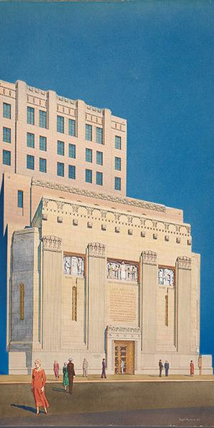 Roger Hayward (1899-1979), Los Angeles Stock Exchange, façade, ca.  1929, Samuel E.  Lunden, architect, John & Donald Parkinson, consulting architects, Gouache on board, 39 x 25 1/2 inches.  © Courtesy of Dr.  James and Mrs.  Miriam Kramer, 2018.  The Huntington Library, Art Collections, and Botanical Gardens.