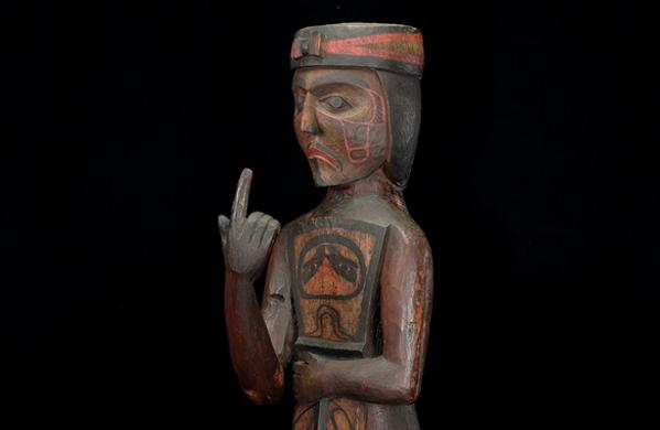 Potlatch figure holding a copper, c.  1880–1895.  Kwakwaka'wakw (Kwakiutl), northwest Vancouver Island, British Columbia.  Red cedar, paint, nails, 50 x 13.5 x 15 in.  Thaw Collection of American Indian Art, Fenimore Art Museum, Cooperstown, New York.  Photo: Richard Walker.