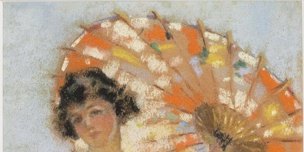Mary Lane McMillan (1883-1976) Young Girl with Parasol, c.  1910-1915.  Oil on canvas.  20 x 16 inches.  Estate Stamp Verso.