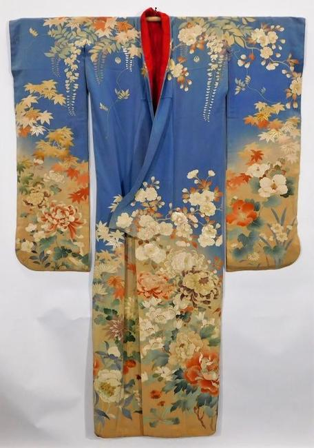 Circa 1890 Meiji Period hand-painted Furisode kimono, decorated with yuzen dye flowers rendered with multiple tones and depth accentuated by embroidery (est.  $2,000-$3,000).