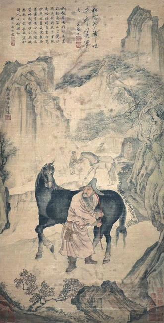 """The Steed and Groom"" by Zhao Mengfu, Yuan Dynasty.  Signed Zhao Mengfu, with one artist seal and sixteen Collectors' seals.  Lot 105.  $10,000,000 - $15,000,000"