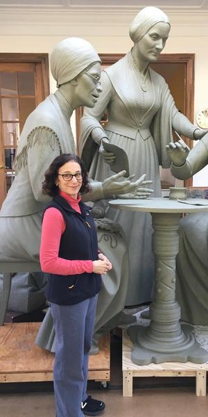 Meredith Bergmann with Women's Rights Pioneers Monuments