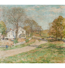 Oil on canvas by William Leroy Metcalf (American, 1858-1925), titled The Road that Leads to Home (Woodbury, Conn.), signed, circa 1919, 26 inches by 29 inches (est.  $150,000-$250,000).