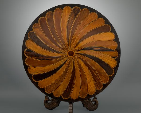 An Early 19th Century Sinhalese Ebony and Specimen Wood Center Table, Sri Lanka