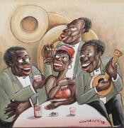 Oil on two-ply illustration board attributed to Miguel Covarrubias (Mexican, 1904-1957), titled Jazz Scene, signed bottom right and 14 inches by 14 inches unframed (est.  $30,000-$35,000).